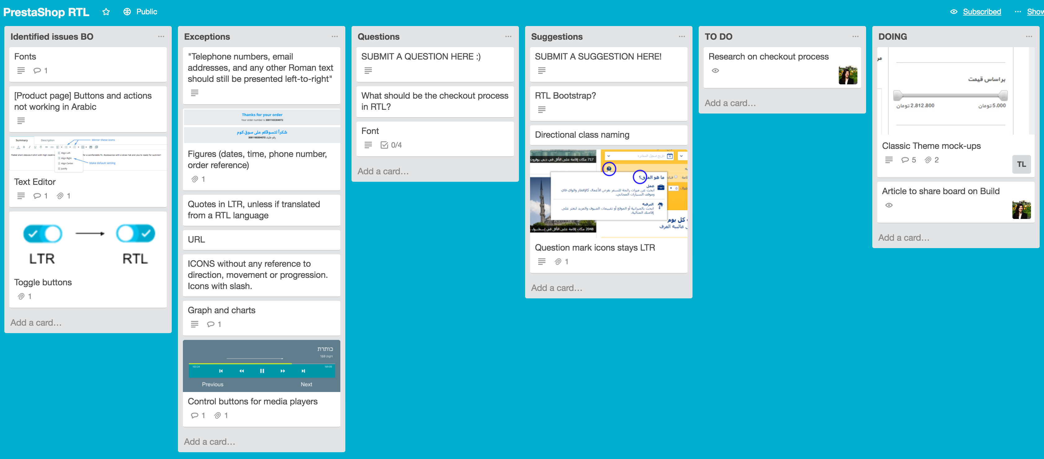 PrestaShop RTL project Trello board