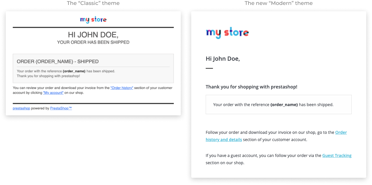 New transactional emails template